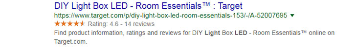 organic review in search results