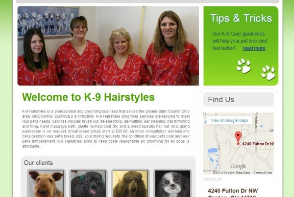 Dog grooming Canton OHIO website by Simple Intelligent Systems